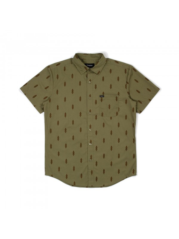 Charter Print S/S Woven Washed Olive 01134-WSHOL
