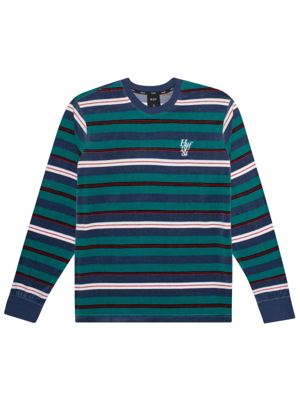 Unveil Stripe Velour L/S Top Quetzal Green KN00141-QUGRN