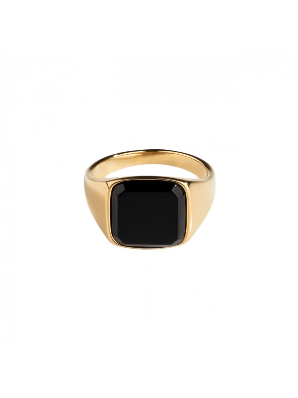 Black Onyx Signature Ring - Gold