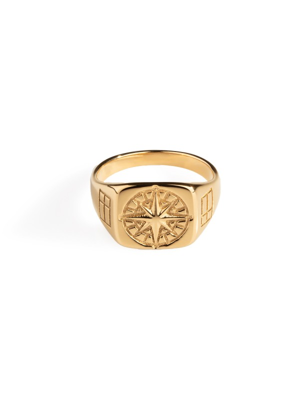 Compass Signature Ring - Gold