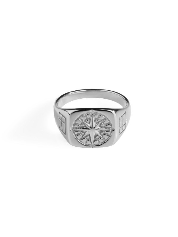 Compass Signature Ring - Silver