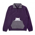 Peeking Nerm Brushed Fleece Half Zip Sweater Purple/Grey RND3904